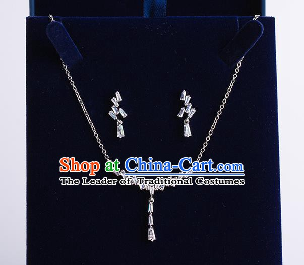 Handmade Classical Wedding Accessories Baroque Zircon Necklace and Earrings for Women