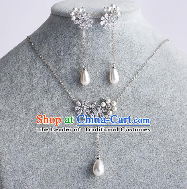Handmade Classical Wedding Accessories Baroque Zircon Pearls Necklace and Earrings for Women