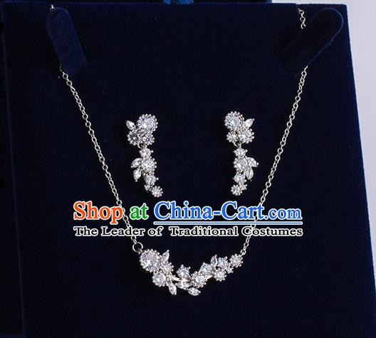 Handmade Classical Wedding Accessories Baroque Crystal Necklace and Earrings for Women