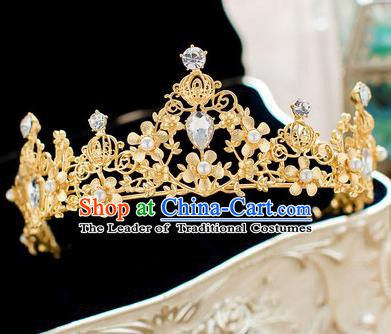 Handmade Classical Hair Accessories Baroque Bride Pearls Golden Royal Crown Headwear for Women
