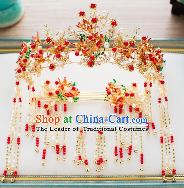 Chinese Handmade Classical Hair Accessories Wedding Bride Phoenix Coronet Hairpins Complete Set