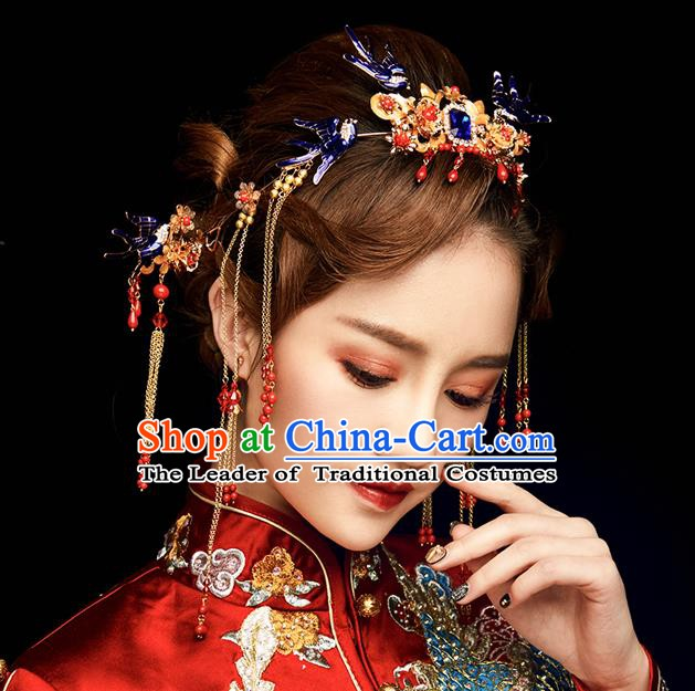 Chinese Handmade Classical Hair Accessories Wedding Phoenix Coronet Hairpins Complete Set