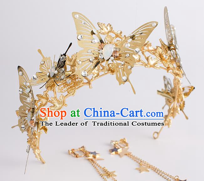 Handmade Classical Hair Accessories Baroque Bride Golden Butterfly Royal Crown Headwear for Women
