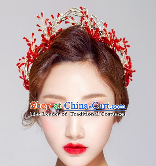 Handmade Classical Hair Accessories Baroque Bride Red Royal Crown Headwear for Women