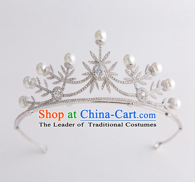 Handmade Classical Hair Accessories Baroque Bride Pearls Crystal Royal Crown Headwear for Women