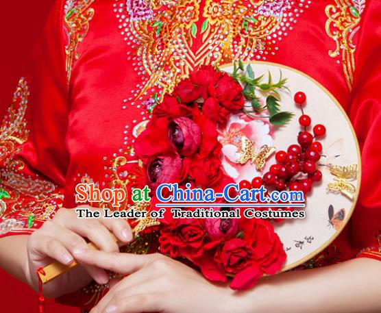 Chinese Handmade Classical Red Peony Palace Fans Ancient Wedding Round Fans for Women