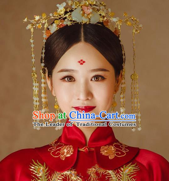 Chinese Handmade Classical Hair Accessories Wedding Bride Tassel Jade Phoenix Coronet Hairpins Complete Set