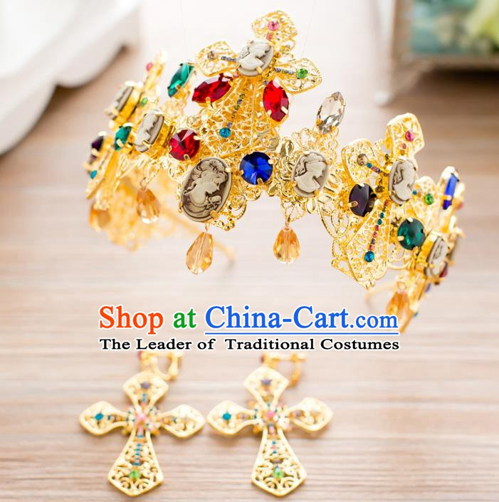 Handmade Classical Hair Accessories Baroque Bride Colorful Crystal Royal Crown Headwear for Women