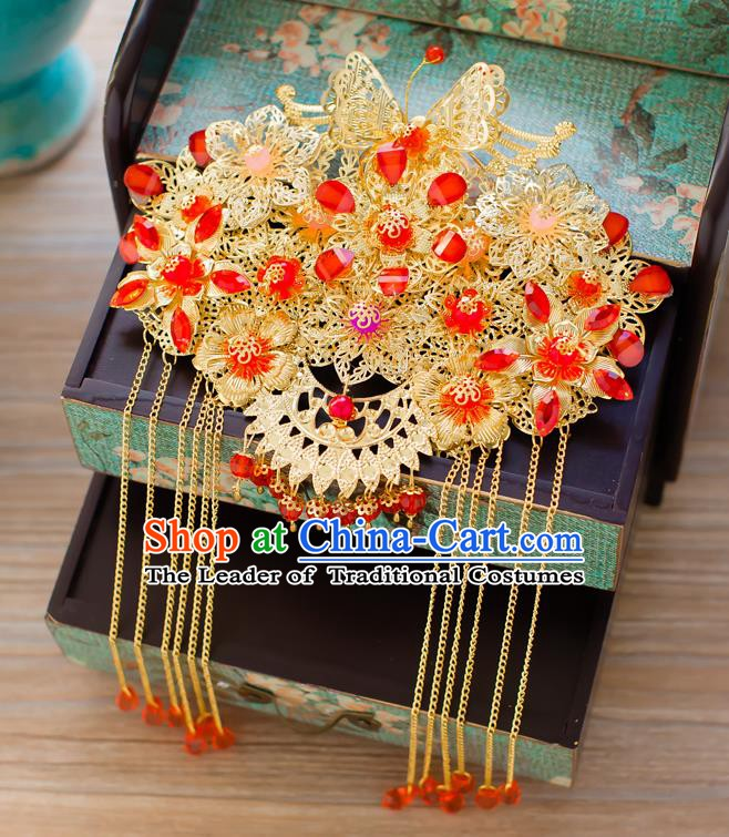 Chinese Handmade Classical Hair Accessories Wedding Hairpins Tassel Frontlet Headwear
