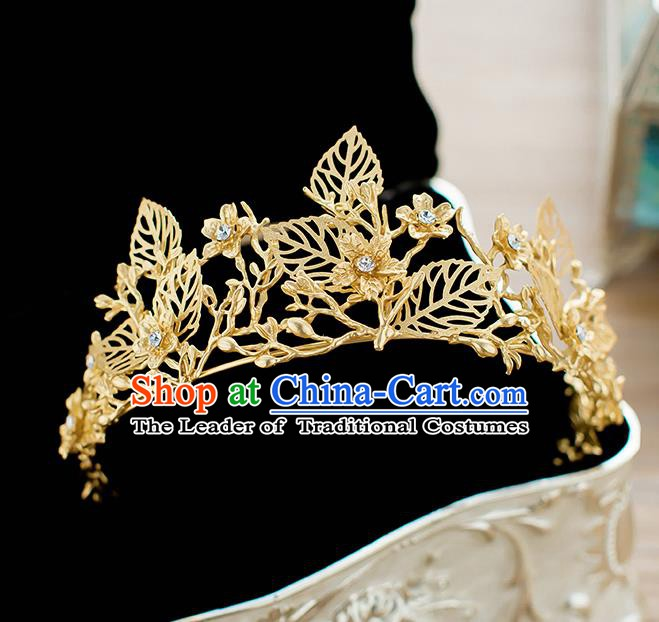 Handmade Classical Hair Accessories Baroque Bride Golden Leaf Royal Crown Headwear for Women