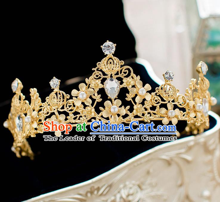 Handmade Classical Hair Accessories Baroque Bride Golden Crystal Royal Crown Headwear for Women