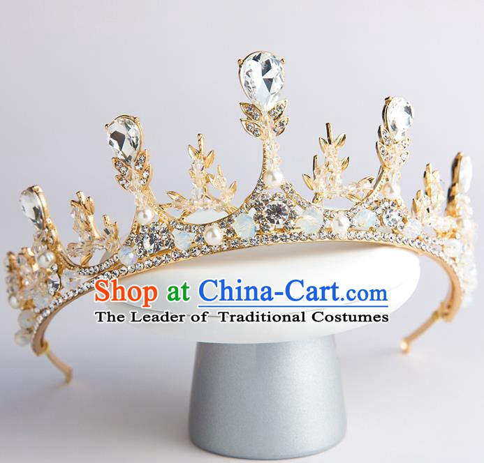 Handmade Classical Hair Accessories Baroque Princess Crystal Royal Crown Headwear for Women
