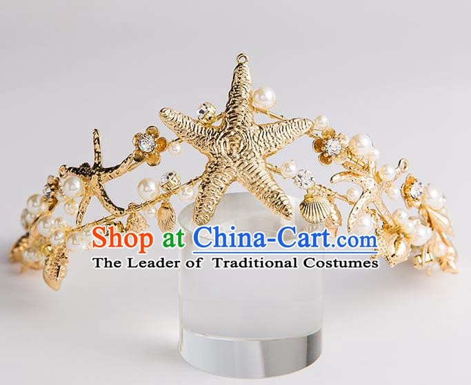Handmade Classical Hair Accessories Baroque Bride Crystal Pearls Royal Crown Headwear for Women