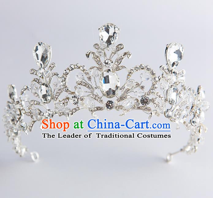 Handmade Classical Hair Accessories Crystal Zircon Royal Crown Baroque Princess Headwear for Women