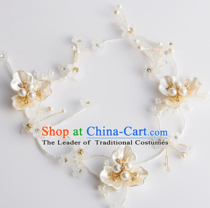 Handmade Classical Wedding Hair Accessories Bride Shell Flower Pearls Headband Hair Clasp Headwear for Women
