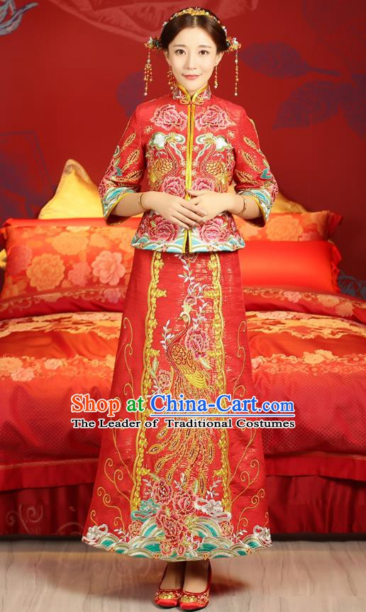 Traditional Ancient Chinese Wedding Costume, China Xiuhe Suits Bride Slim Embroidered Toast Cheongsam Clothing for Women