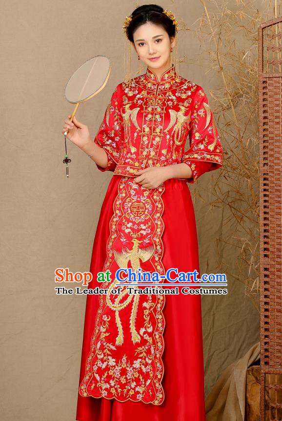 Traditional Chinese Wedding Costume Ancient Bride Toast Cheongsam Embroidered Phoenix Xiuhe Suits for Women
