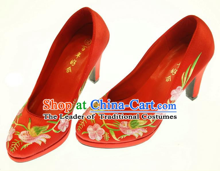 Asian Chinese Wedding Shoes Embroidered High Heels Shoes Hanfu Shoes for Women