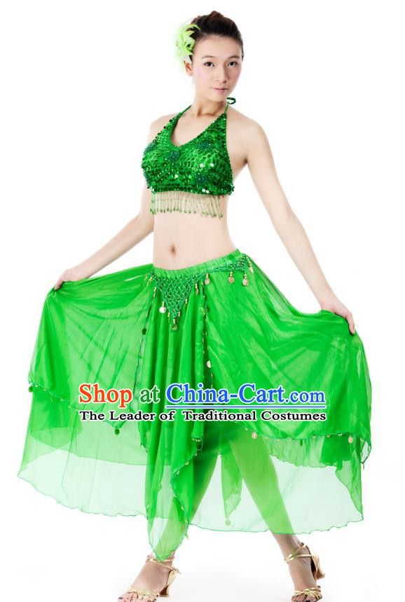 Indian Bollywood Belly Dance Green Tassel Dress Clothing Asian India Oriental Dance Costume for Women