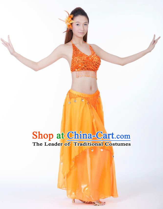 Indian Bollywood Belly Dance Orange Tassel Dress Clothing Asian India Oriental Dance Costume for Women