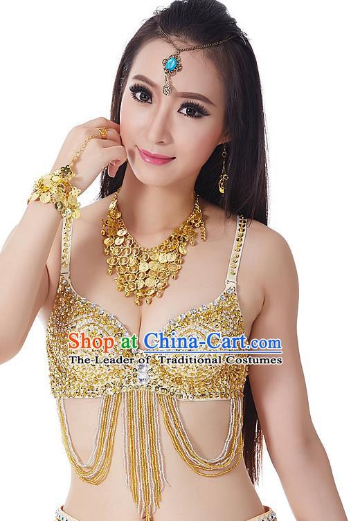 77400412edf7 Indian Bollywood Belly Dance Golden Tassel Brassiere Asian India Oriental  Dance Costume for Women