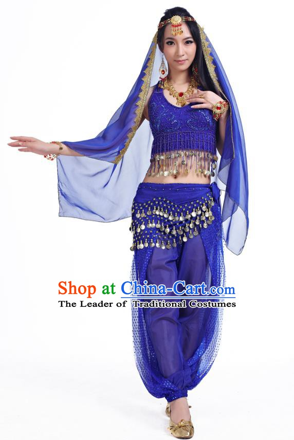 91b004f46d16 Traditional Indian Belly Dance Sequined Royalblue Dress Asian India  Oriental Dance Costume for Women