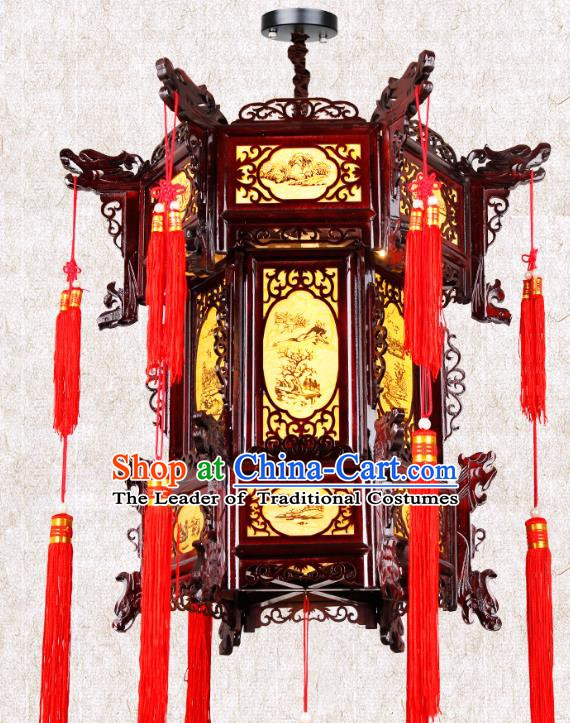 Chinese Classical Handmade Wood Palace Lanterns Traditional Hanging Lantern Ancient Painted Pineburst Ceiling Lamp