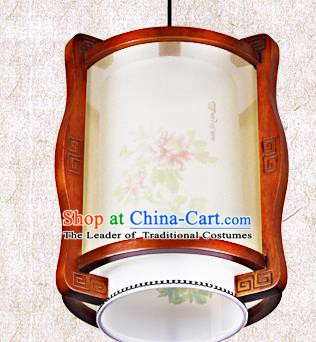 Traditional Chinese Painted Peony Palace Lanterns Handmade Wood Hanging Lantern Ancient Ceiling Lamp