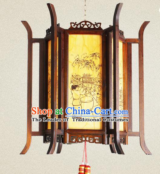 Traditional Chinese Painted Wood Palace Lanterns Handmade Hanging Lantern Ancient Ceiling Lamp