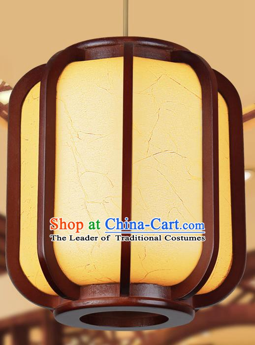 Traditional Chinese New Year Yellow Palace Lanterns Wood Hanging Lantern Ancient Ceiling Lamp