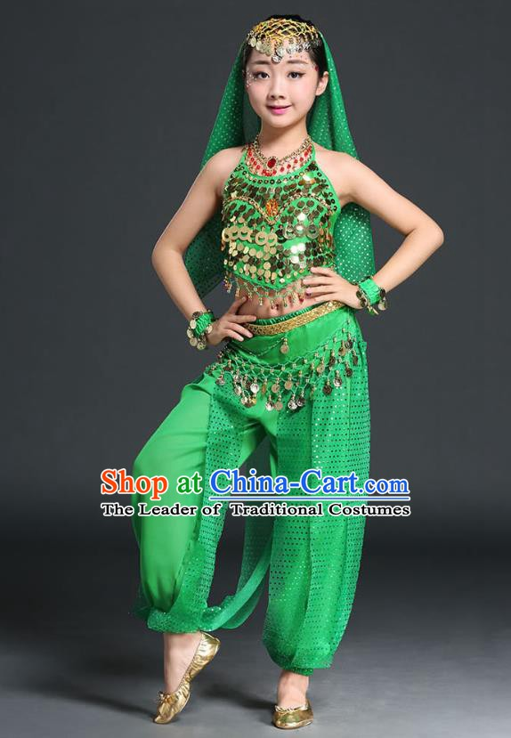 31790b146d Traditional Indian National Belly Dance Green Clothing India Oriental Dance  Costume for Kids