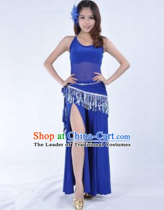 Traditional Indian National Belly Dance Deep Blue Dress India Oriental Dance Costume for Women