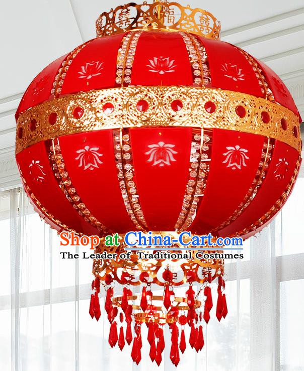 Traditional Chinese Revolving Palace Lanterns Handmade Red Hanging Lantern Ancient Ceiling Lamp