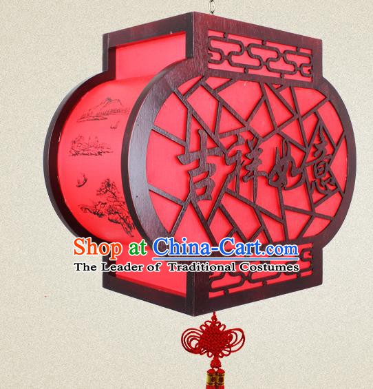 Traditional Chinese Red Parchment Palace Lanterns Handmade New Year Hanging Lantern Ancient Ceiling Lamp