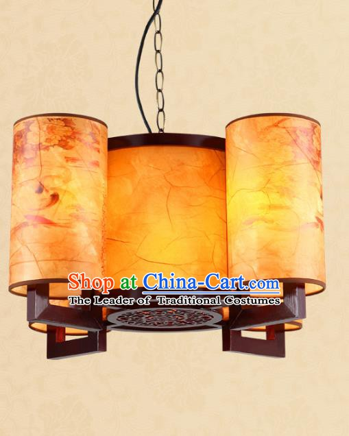 Traditional Chinese Painted Parchment Hanging Palace Lanterns Handmade Four-Lights Lantern Ancient Ceiling Lamp