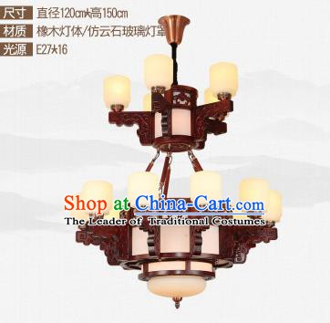 Traditional Chinese Sixteen-lights Ceiling Palace Lanterns Handmade Wood Carving Lantern Ancient Lamp
