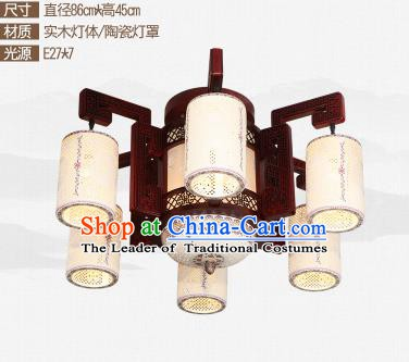 Traditional Chinese Six-lights Ceiling Palace Lanterns Handmade Ceramics Lantern Ancient Lamp