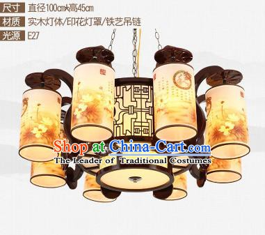 Traditional Chinese Printing Eight-lights Ceiling Palace Lanterns Handmade Wood Lantern Ancient Lamp