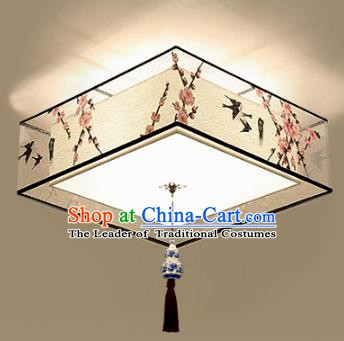 Traditional Chinese Printing Peach Blossom Birds Ceiling Palace Lanterns Handmade Lantern Ancient Lamp