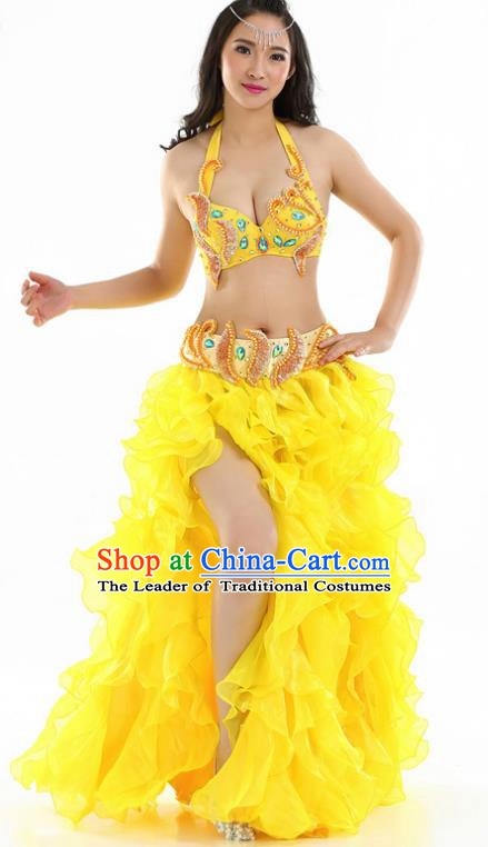 Indian National Belly Dance Yellow Sequenced Dress India Bollywood Oriental Dance Costume for Women