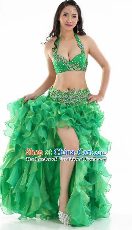 Indian National Belly Dance Green Sequenced Dress India Bollywood Oriental Dance Costume for Women