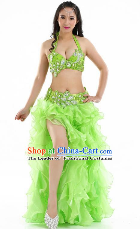 Indian National Belly Dance Light Green Sexy Dress India Bollywood Oriental Dance Costume for Women