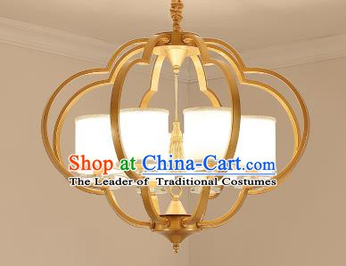 Traditional Chinese Gold-framed Ceiling Palace Lanterns Handmade Eight-Lights Lantern Ancient Lamp