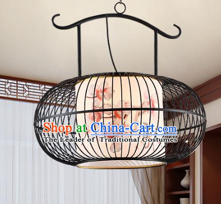 Traditional Chinese Painted Iron Palace Lanterns Handmade Hanging Lantern Ancient Ceiling Lamp