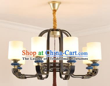 Traditional Chinese Hanging Ceiling Palace Lanterns Handmade Eight-Lights Lantern Ancient Lamp