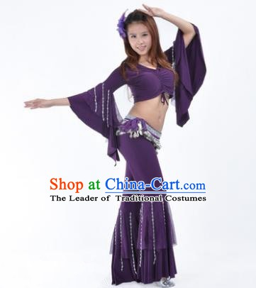 Indian National Belly Dance Mandarin Sleeve Clothing India Oriental Dance Purple Costume for Women