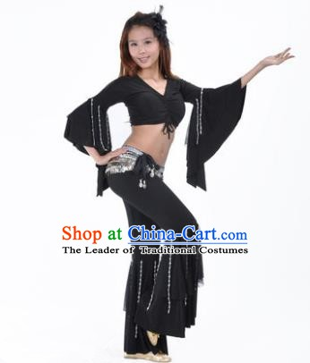 Indian National Belly Dance Mandarin Sleeve Clothing India Oriental Dance Black Costume for Women