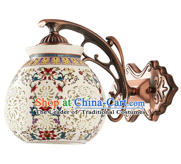 Traditional Chinese Palace Lanterns Handmade Colorful Porcelain Wall Lantern Ancient Lamp