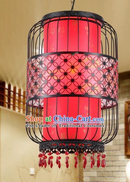 Traditional Chinese Iron Red Palace Lanterns Handmade Hanging Lantern Ancient Ceiling Lamp