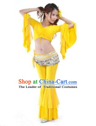 Indian National Belly Dance Mandarin Sleeve Clothing India Oriental Dance Yellow Costume for Women